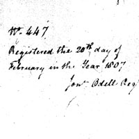Page six of the land grant, dated February 20, 1807.